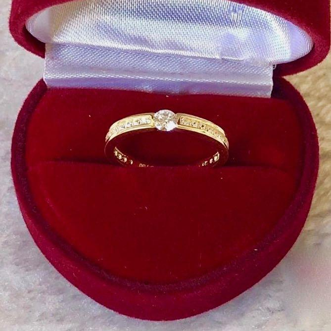 Engagement Ring 18k Gold .5 ct Paved Band HARMONY - ZNZ Jewelry Philippines