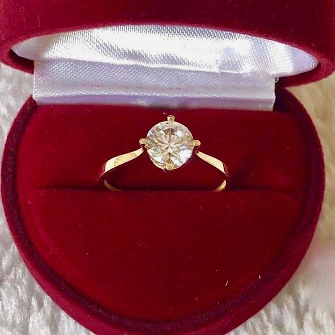 Engagement Ring 18k Gold 2.5 ct Paved Band GRACIE - ZNZ Jewelry Philippines