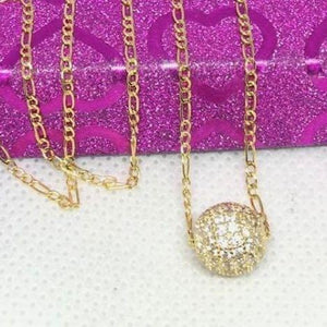 18K Gold Studded Ball Women's Necklace jntt24 - ZNZ Jewelry Philippines