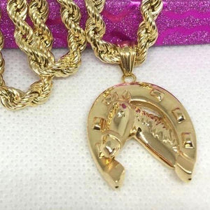 18K Gold Horsehoe Men's Necklace jntt2 - ZNZ Jewelry Philippines