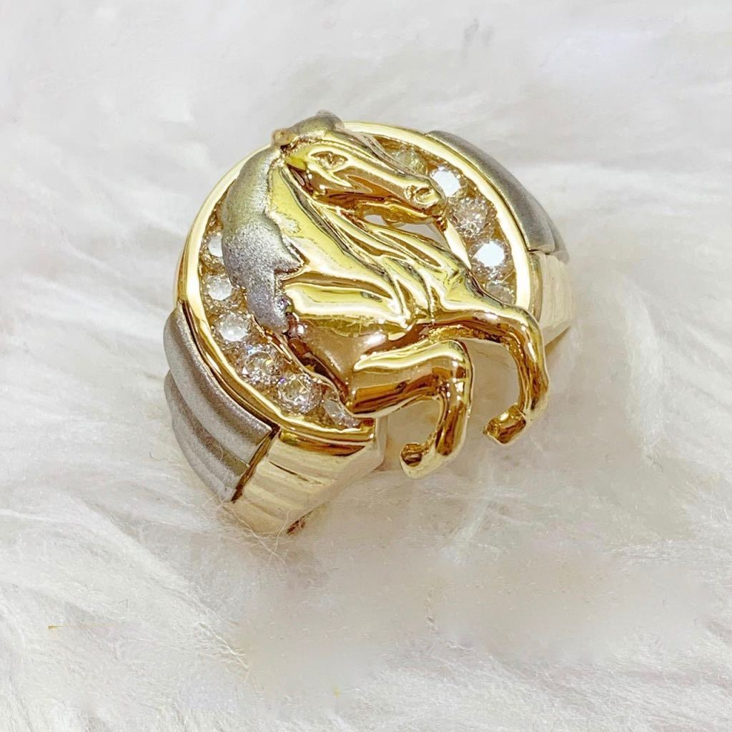 Men's Ring Horse 18K Gold jn4tt32 - ZNZ Jewelry Philippines