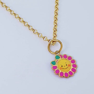 Pink Sunflower Necklace 18K Gold