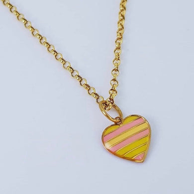 Colorful Heart Necklace 18K Gold