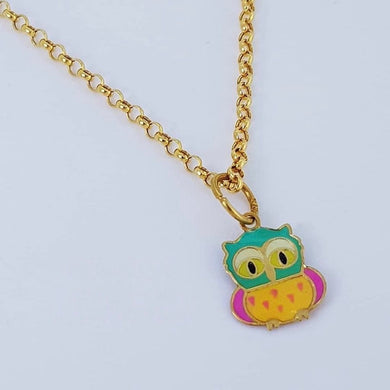 Pretty Owl Necklace 18K Gold