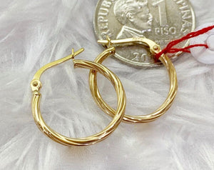 18K Gold Hoop Earrings mytt14 - ZNZ Jewelry Philippines