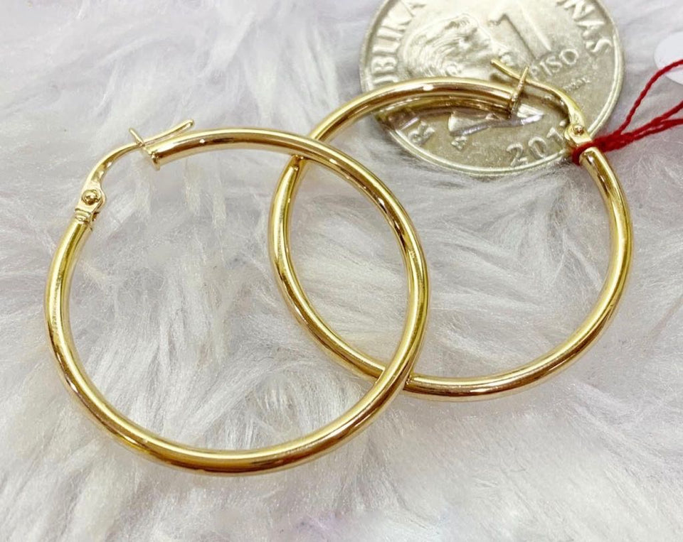 18K Gold Hoop Earrings mytt20 - ZNZ Jewelry Philippines