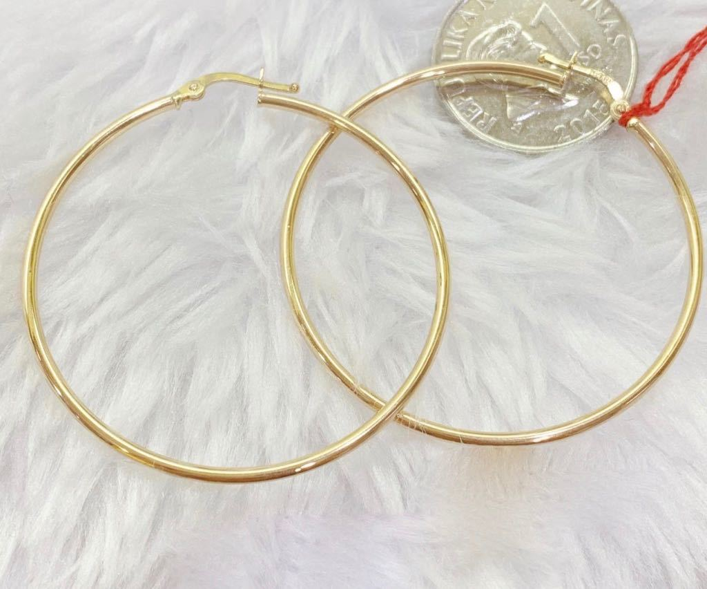 18K Gold Hoop Earrings mytt27 - ZNZ Jewelry Philippines