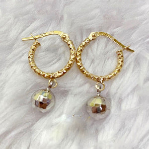 18K Gold Hoop Disco Ball Earrings mytt33 - ZNZ Jewelry Philippines