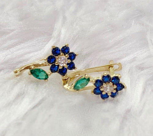 18K Gold Blue Flower Earrings mytt35 - ZNZ Jewelry Philippines