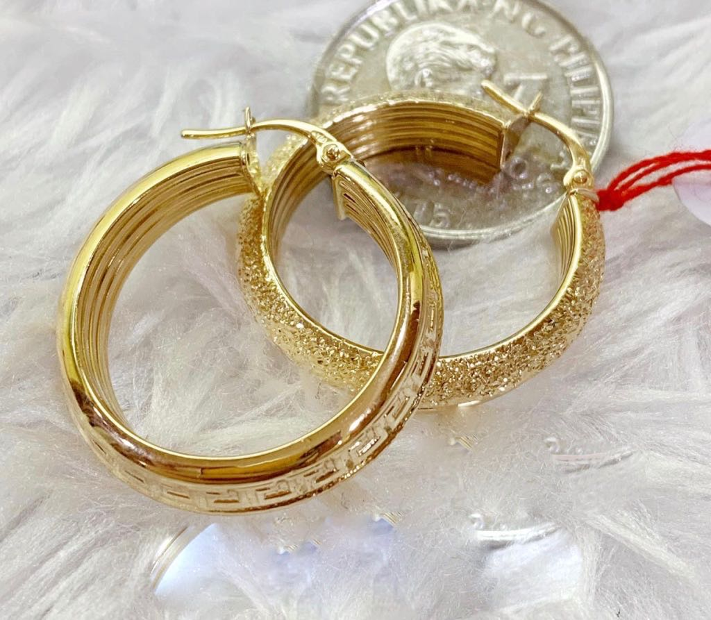 18K Gold Hoop Earrings mytt5 - ZNZ Jewelry Philippines