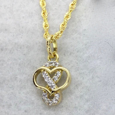 Infinity-Heart Necklace 18K Gold, Rope Chain 20 inch