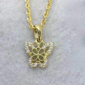 Butterfly Necklace 18K Gold, Rope Chain 20 inch