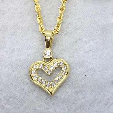 Open Heart  Necklace 18K Gold, Rope Chain 20 inch