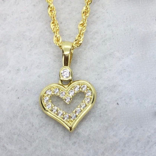 Open Heart  Necklace 18K Gold, Rope Chain 20 inch - sold out -