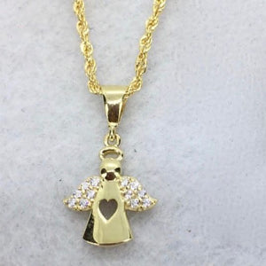Angel Necklace 18K Gold, Rope Chain 20 inch