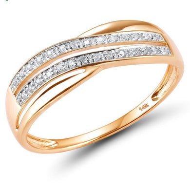 Diamond Twin Overlap Wedding Band Anniversary Ring 14K Rose Gold