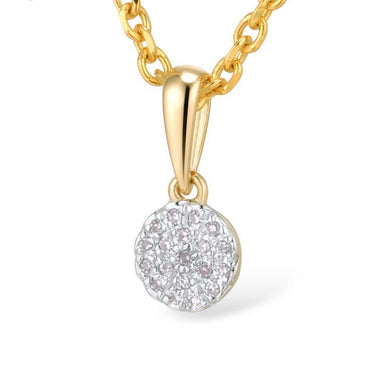 0.38ctw Small Round Circle Sparkling Diamond Pendant 14K Gold