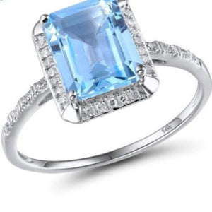 Luxury Women's Diamond Engagement Ring / 14K Sky Blue Topaz/Green White Gold Rings For Women