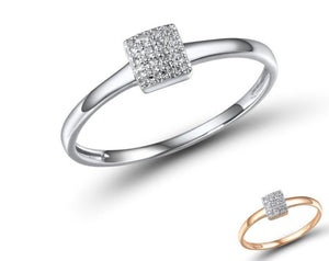 PRINCESS Delicate Square Diamond Engagement Ring /14K Rose White Gold Ring For Women - Pre-Order