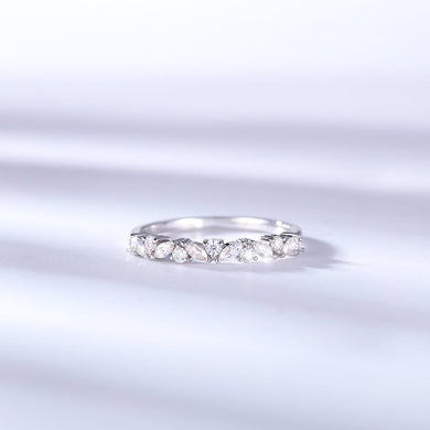 Moissanite Half Eternity Round and Marquise Cut 14K Wedding/Stacking Ring in Yellow Gold, White Gold, RoseGold Pre-Order 3-4 weeks