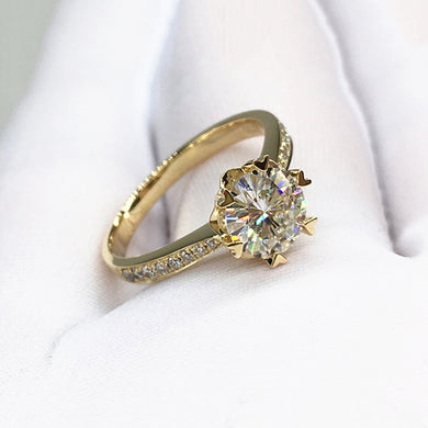 Snowflake Engagement Anniversary Ring in 14K Gold - Pre Order 3-4 weeks