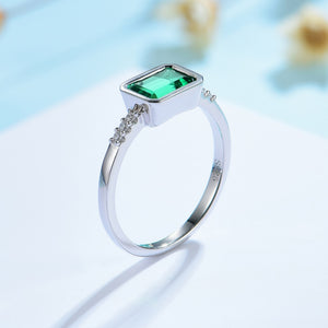 Emerald Bezel Engagement Ring / Women's Ring 925 Silver - Pre Order 2-3 weeks