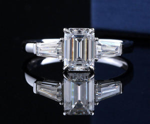 Emerald Cut Engagement Ring for Women Bridal Wedding - PreOrder 3-4 weeks