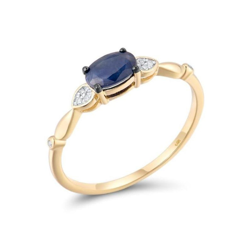 14k Blue Sapphire Women Engagement Ring with Side Diamonds - Pre-Order