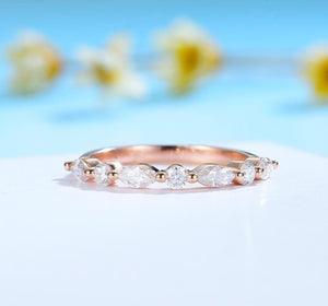 Marquise-Round Moissanite Half Eternity Wedding Ring  / Women's Stacking Ring