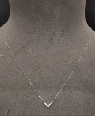 V Diamond Necklace Dainty