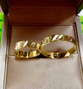 LARA 18K Gold Two-Tone Wedding Rings - ZNZ Jewelry Philippines