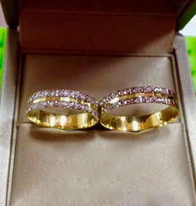 MAISIE 18K Gold Two-Tone Wedding Rings - ZNZ Jewelry Philippines