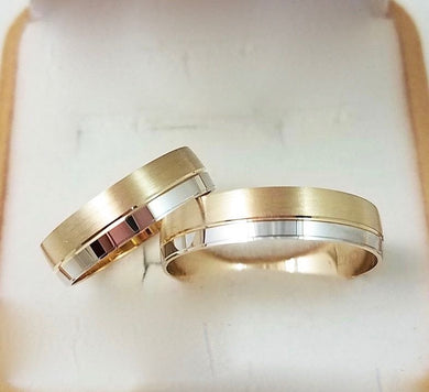 18K Gold Two-Tone Wedding Rings - ZNZ Jewelry Philippines