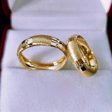 Brushed Wedding Rings in 18K Gold