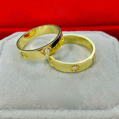 LOVE Wedding Rings with Stone in 18K Gold