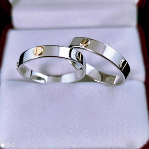 CARTR 18K White Gold with Yellow Wedding Rings