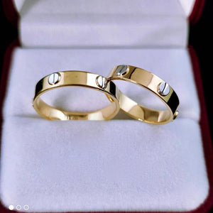 CARTR 18K Yellow Gold with White Wedding Rings