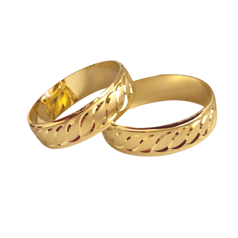 ALELI 18K Gold Wedding Bands, Couple Rings