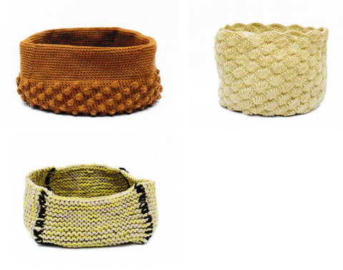 Rico Design Pattern 1101 Crocheted and Knitted Aran baskets at My Yarnery Havant UK