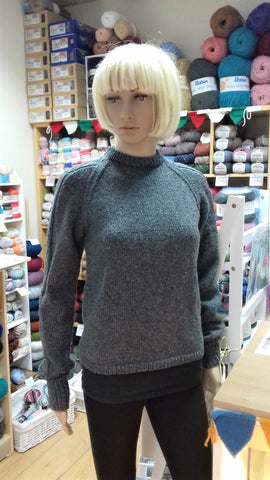 My Yarnery model wearing Adriafil Diletta pullover pattern Norilsk