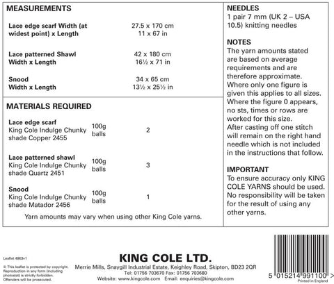 King Cole Pattern 4863