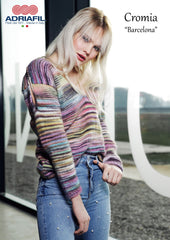Adriafil Barcelona pullover sweater knitting pattern in Cromia yarn at My Yarnery Havant UK