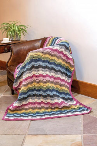 King Cole Forest Recycled Aran Crochet Ripple Blanket FREE pattern