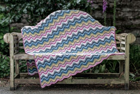 King Cole Forest Recycled Aran Ripple Blanket Free Knitting Pattern