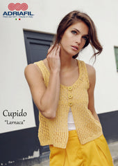 Adriafil Larnaca gilet pattern in Cupido yarn free to download from My Yarnery UK