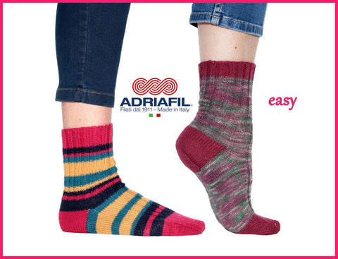 Adriafil pattern - 'Easy' Ribbed Socks - Calzasocks