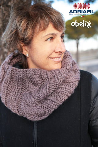 Adriafil Pattern - Cowl with Ribs & Cables - Obelix