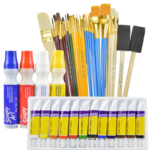 Art supplies value pack includes 12 acrylic paints 25 paint brushes and 4 window markers