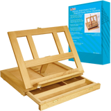 Deluxe artist painting set with aluminum floor easel wood drawer table easel