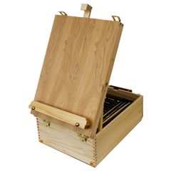 Wood box easel painting set 12 tubes of oil colors